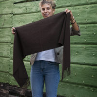 Woven Scarf with Diagonal Stripes and Fringes